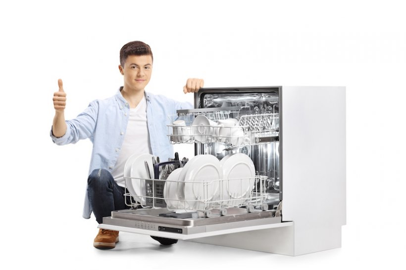 man showing thumbs up for loading dishwasher correctly