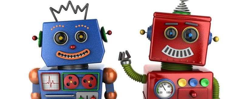 two happy robots