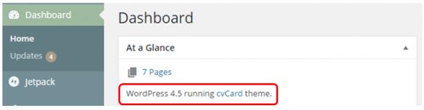 WordPress Dashboard Version Screenshot