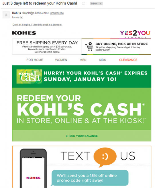 Email From Kohl's Remarketing me to Redeem Kohl's Cash