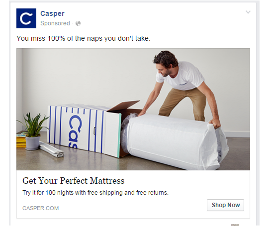 Ad from Casper showing Retargeting