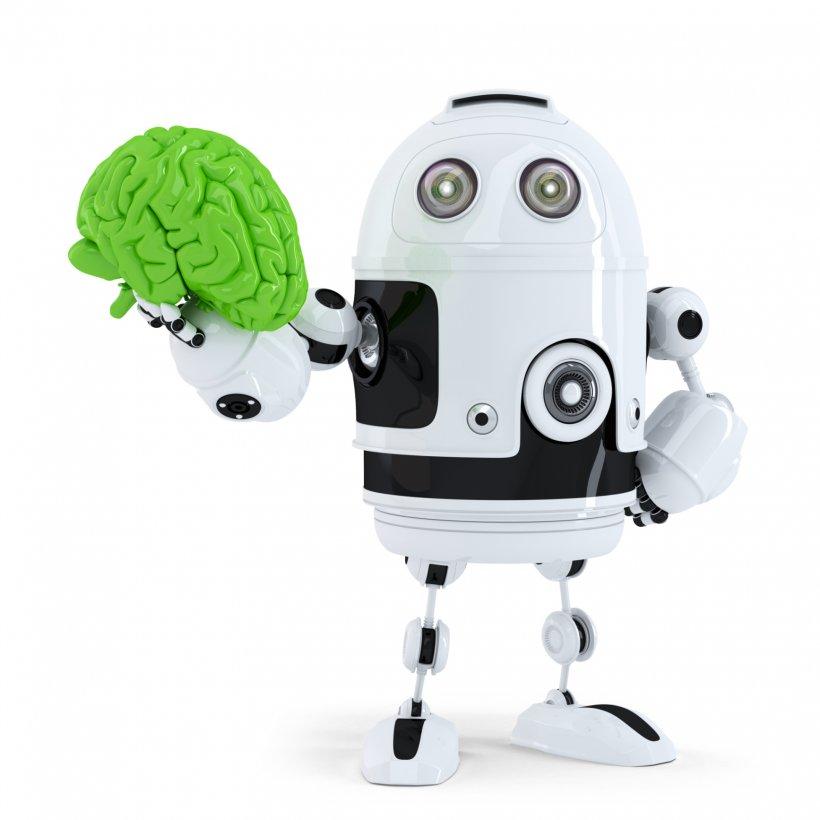 robot holding a green brain