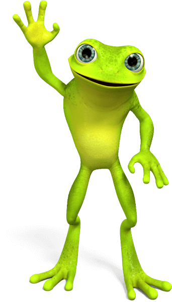 Jimmy Hoppa, eZanga's mascot a green frog waving at you