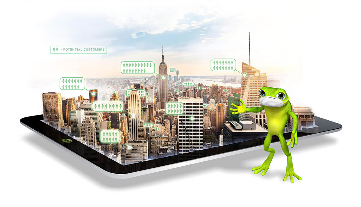 eZanga's mascot Jimmy Hoppa pointing at New York city skyline at sunrise